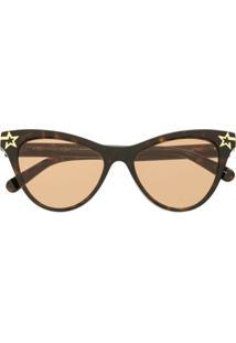 Stella Mccartney Óculos De Sol Gatinho Com Estrela - Marrom