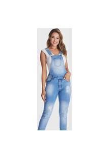 Macacão Jardineira Hno Jeans Longa Azul