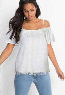 Blusa Ciganinha Com Franjas Off White