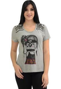 T-Shirt Energia Fashion Polaroide Cinza