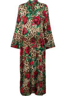 Dolce & Gabbana Quimono Longo Animal Print - Marrom