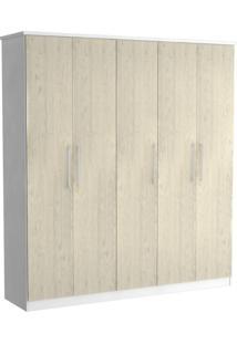 Guarda-Roupa Casal 5 Portas 100% Mdf 975 Branco/Marfim Areia - Foscarini