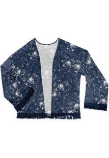 Kimono Feminino Estampado Azul