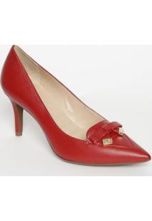 Scarpin Com Laã§O Em Couro- Vermelho- Salto: 8Cmjorge Bischoff