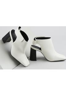 Bota Open Boot Feminina Oneself Salto Alto Grosso Bico Quadrado Com Velcro Off White