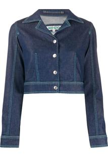 Kenzo Jaqueta Jeans Cropped - Azul