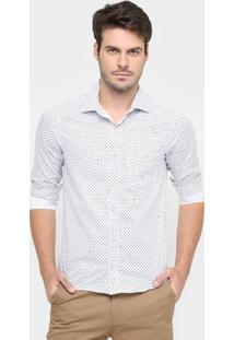 Camisa Sérgio K. Mini Print Flores Slim - Masculino-Branco