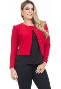 Casaco Clara Arruda Princesa Feminina - Feminino-Vermelho