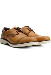 Sapato Casual Couro Walkabout Pespontado Masculino - Masculino-Areia
