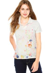 ... Camisa Polo Malwee Floral Off-White 275a5920b58e2