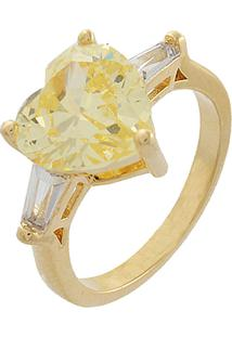 Anel Narcizza Semijoias Coração Citrino Com Detalhe De Baguetes Cristal Ouro