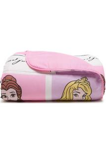 Edredom Princesas Disney® Solteiro- Rosa & Lilás- 15Santista