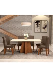 Conjunto De Mesa De Jantar Com 6 Cadeiras Estofadas Amanda Suede Off White E Chocolate