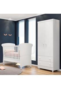 Quarto De Bebê Guarda Roupa Amore 2 Portas E Berço Branco - Qmovi