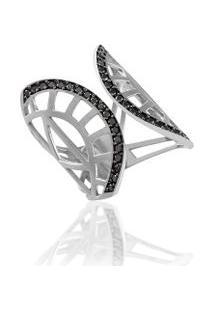Anel Relíquia Branco C/ Diamante Black