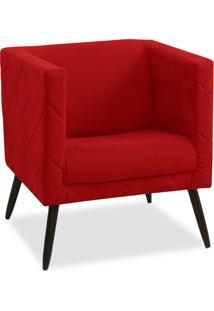 Poltrona Decorativa Maisa Suede Vermelho - D'Rossi