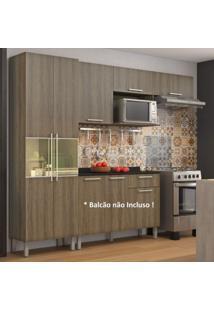 Cozinha Compacta Paneleiro E Armário Aéreo 5 Portas 1 Nicho Star Itatiaia Castanho