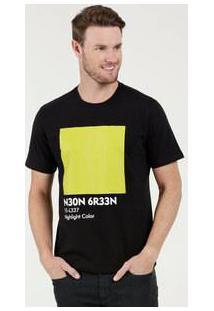 Camiseta Masculina Estampa Frontal Neon Mr