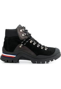 Tommy Hilfiger Ankle Boot De Couro Com Cadarço - Preto