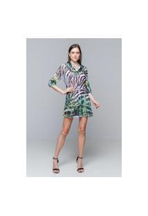 Vestido Chemise 101 Resort Wear Evasê Babados Crepe Estampado Zebra Folhas