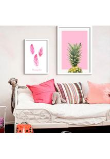Kit 2 Quadros Com Moldura Pineapple Pink