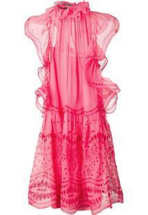 Alberta Ferretti Embroidered Flared Dress - Rosa