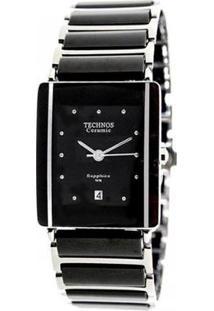 Relógio Feminino Technos Ceramic 1N12Acpai/1P 25Mm Aço Prata/Cerâmica Preta - Feminino-Preto