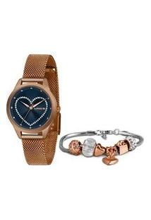 Kit Relógio Feminino Lince Lrr4557L D1Rx Analógico + Semijoia | Lince | Rosa | U