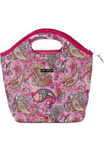 Bolsa Ana Viegas Handbag Tecido Mão Forro Impermeável Prática Feminina - Feminino-Rosa
