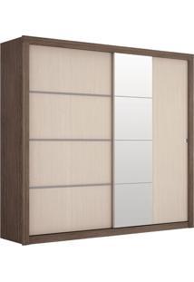 Armário Prime Iii 2 Portas De Correr C/Detalhes Em Espelho, Padrao - Malbec/Fendi