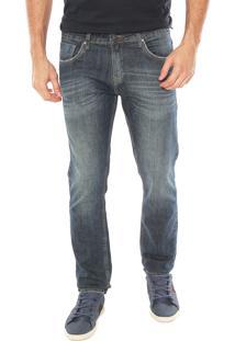 Calça Jeans Aleatory Slim Dirty Azul