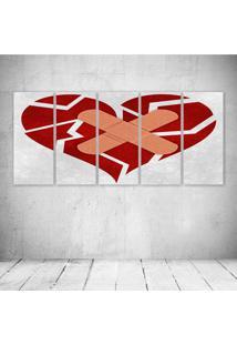 Quadro Decorativo - Coração Qubrado - Composto De 5 Quadros