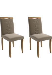 Conjunto Com 2 Cadeiras De Jantar Laura Suede Madeira E Joli