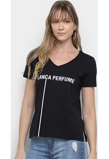 Camiseta Lança Perfume Logo Decote V Feminina - Feminino