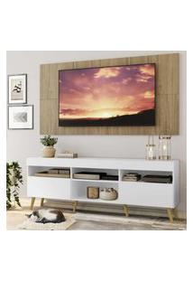 "Rack C/ Painel Tv 65"" Branco/Rustic Londres Multimóveis Pés Retrô Natural"