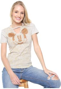 Blusa Cativa Disney Mickey Glitter Cinza/Dourado