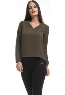 Camisa Clara Arruda Decote V 12049 - Feminino-Verde Militar