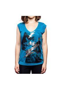 Camiseta Caveira Raio Azul