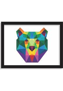 Quadro Decorativo Urso Abstrato Colorido Preto - Médio
