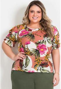 Blusa Floral Com Mangas Bufantes Plus Size