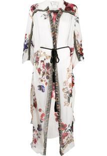 Camilla Floral Ruffle Draped Silk Cardigan - Branco