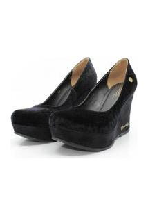 Scarpin Barth Shoes Land Sl Suede Preto Veludo - Preto Poa