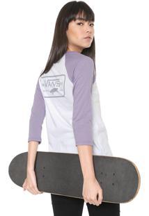 Camiseta Vans Wm Full Patch Raglan Branca/Lilás