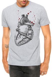 Camiseta Criativa Urbana Coração Realista Manga Curta Cinza Mescla