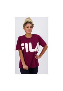 Camiseta Fila Letter Box Feminina Vinho