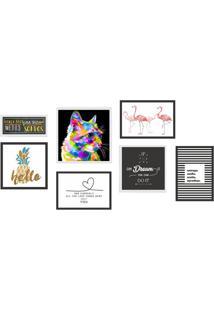 Conjunto Com 7 Quadros Decorativos Good Vibe Colorido