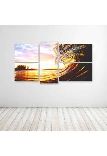 Quadro Decorativo - Sunset Waves - Composto De 5 Quadros