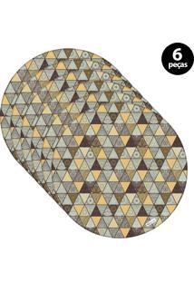 Sousplat Mdecore Abstrato 32X32Cm Colorido 6Pçs