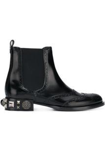 Dolce & Gabbana Bota Chelsea De Couro Com Aplicações - Preto