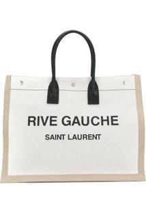 Saint Laurent Bolsa Tote Rive Gauche Com Logo - Neutro